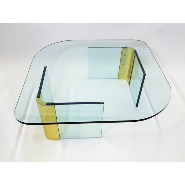 Modern Large 1970s Thick Glass & Brass Coffee Table For Sale - Image 9 of 13