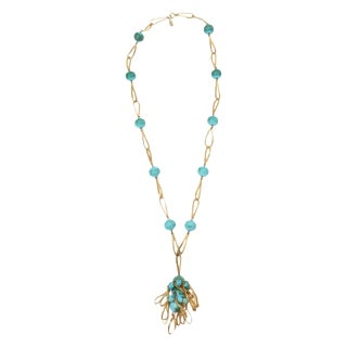Vintage Hattie Carnegie Turquoise Tassel Necklace For Sale