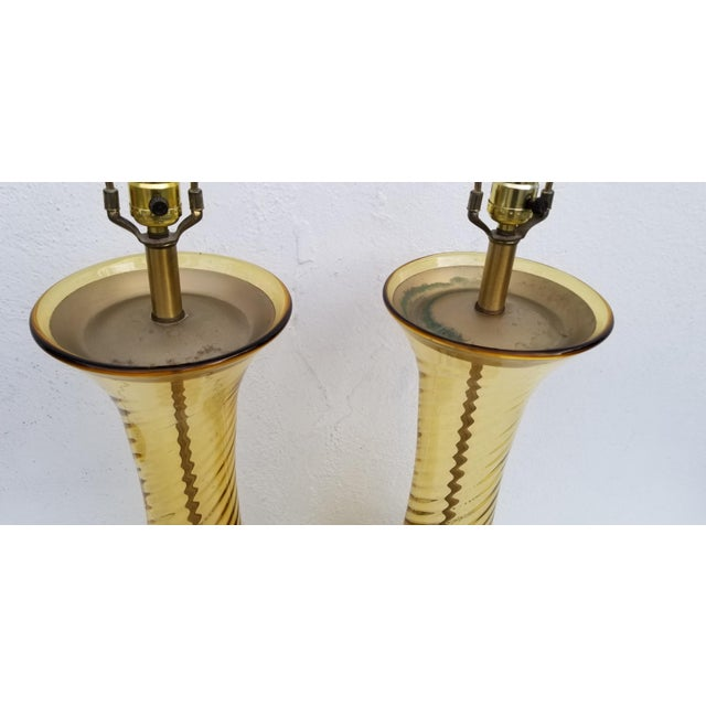 Brass Pair of Tall Vintage Amber Glass Table Lamps For Sale - Image 7 of 13