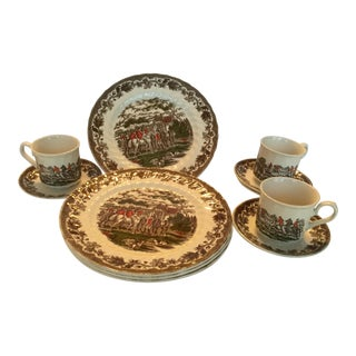 1970's Vintage Equestrian English Ironstone Dinnerware- Set of 11 For Sale