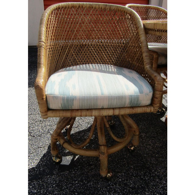 Boho Chic Rattan and Bamboo Dining Table and Four Chairs - 5 Pieces For Sale In West Palm - Image 6 of 10