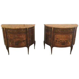 19th Century French Louis XV Style Demilune Commode or Bedside Stands - A Pair