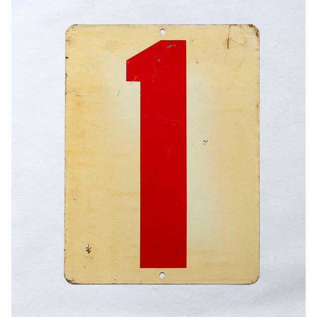 Shabby Chic Vintage Mid Century Number 1 Gas Station Sign For Sale - Image 3 of 3