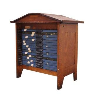 1900s Industrial Hamilton 16 Drawer Oak File Cabinet For Sale
