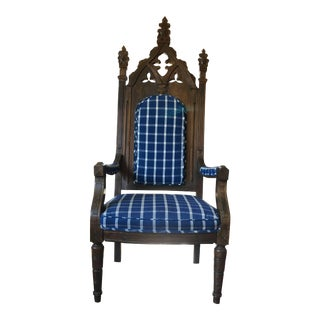 Antique English Gothic Revival Throne Chair For Sale