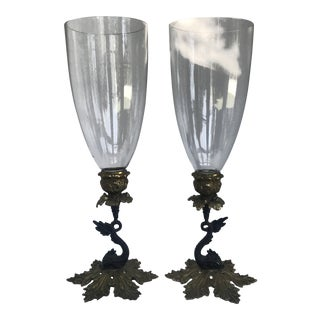 Dolphin Brass With Glass Hurricane Candleholders For Sale