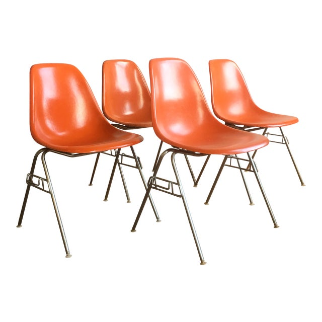 Orange Herman Miller Eames Fiberglass Shell Chairs - Set of 4 For Sale