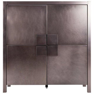 Maison Jansen Steel Brushed Four-Door Cabinet For Sale