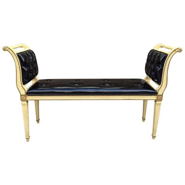 Painted Louis XIV Style Tufted Window Bench For Sale In New York - Image 6 of 6