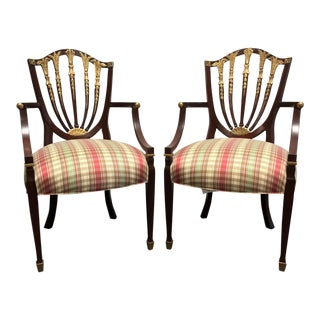 Henredon Mahogany Regency Style Accent Arm Chairs With Spade Feet - Pair