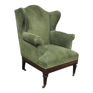 English Regency Victorian Mahogany Wing Chair For Sale