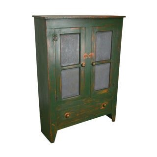 Country Custom Hand Crafted Green Painted Pie Sofa Cupboard With Punch Tin Doors For Sale