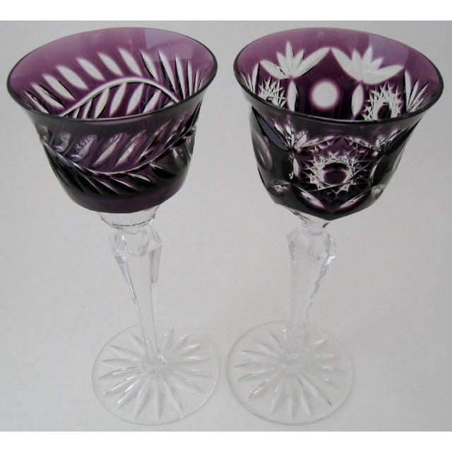 Bohemian Crystal Cordials, a Pair - Image 3 of 3