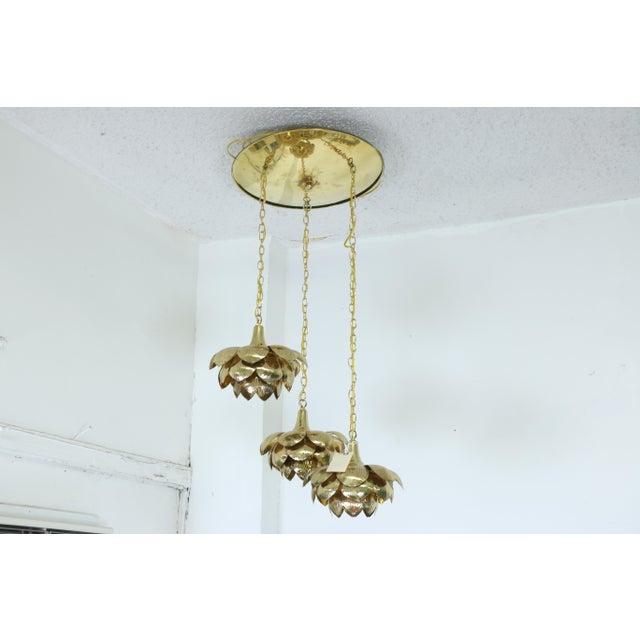 "Brutalist Brass ""Lotus"" 3 Tier Pendant Light Fixture For Sale - Image 3 of 7"