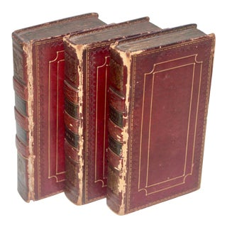 Traditional Decorative Leather Books - Set of 3 For Sale