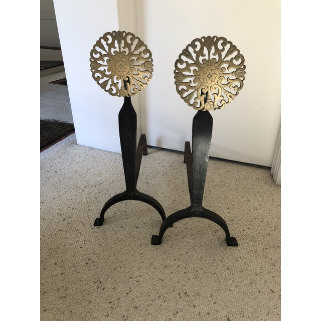 Vintage Iron and Brass Andirons - a Pair For Sale In New York - Image 6 of 6