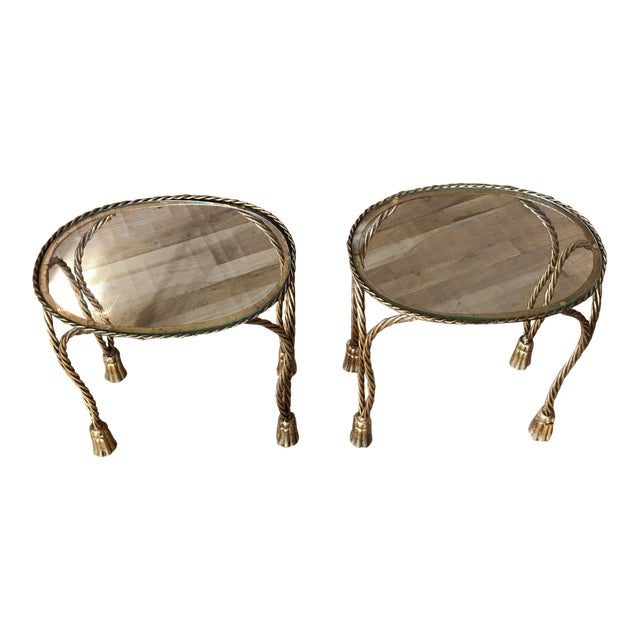 Oval Gilt Rope & Tassel Side Tables - A Pair - Image 1 of 8