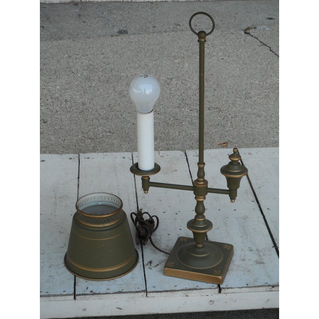 Industrial Vintage Sage Green Tole Desk Lamp For Sale - Image 3 of 8