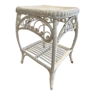 Vintage English White Rattan Table For Sale