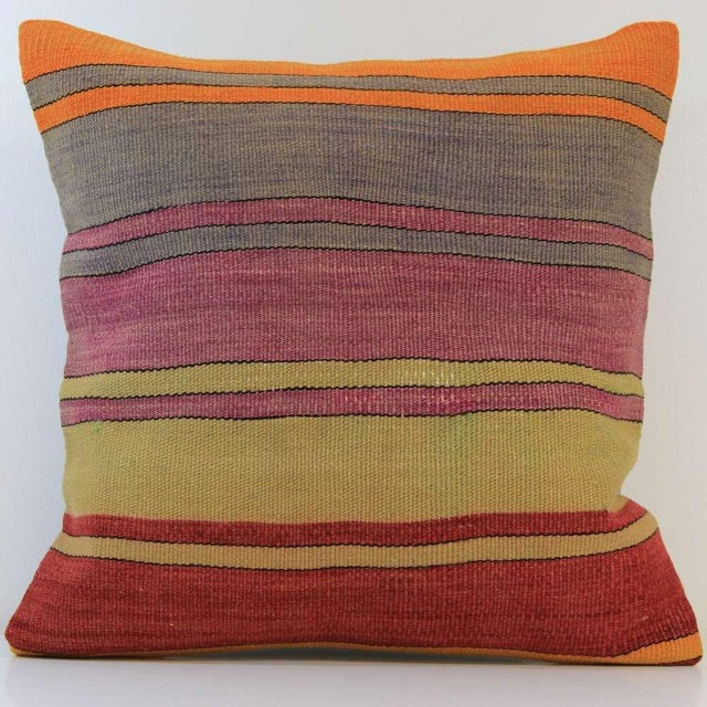 Vintage Turkish Striped Kilim Pillow Cover - Image 2 of 7