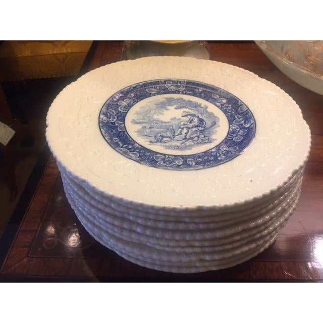 Blue French Country Blue Transferware Charger Round Plates - Set of 12 For Sale - Image 8 of 13