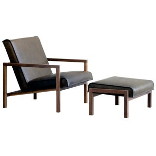 Vincent Leather Lounge Chair With Ottoman For Sale