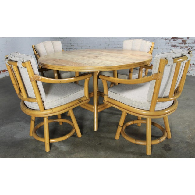 Mid-Century Ficks Reed Co. Round Rattan Game Table & Chairs - Image 2 of 11