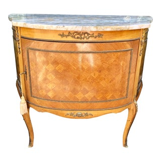 Antique Louis XVI Style Nightstand Buffet W Marble Top For Sale