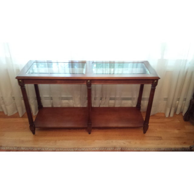 Vintage Solid Fruitwood and Beveled Glass Console Table - Image 2 of 11
