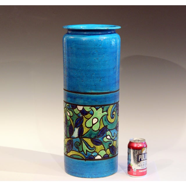 "Huge Bitossi vase or stick stand in brilliant Bitossi blue with band of floral decoration, circa 1960's. 20"" high, 8""..."