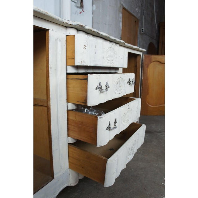 White 19th Century Antique French Country Provincial White Sideboard For Sale - Image 8 of 13