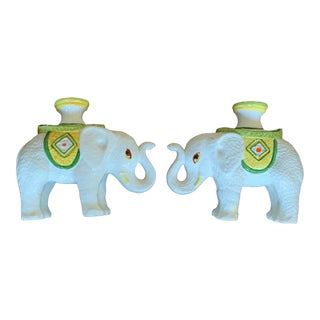 Vintage Italian Ceramic Elephant Candle Holders - a Pair For Sale