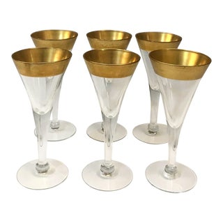 Set of Six Crystal Gold Rim Cordial Glasses by Dorothy Thorpe For Sale