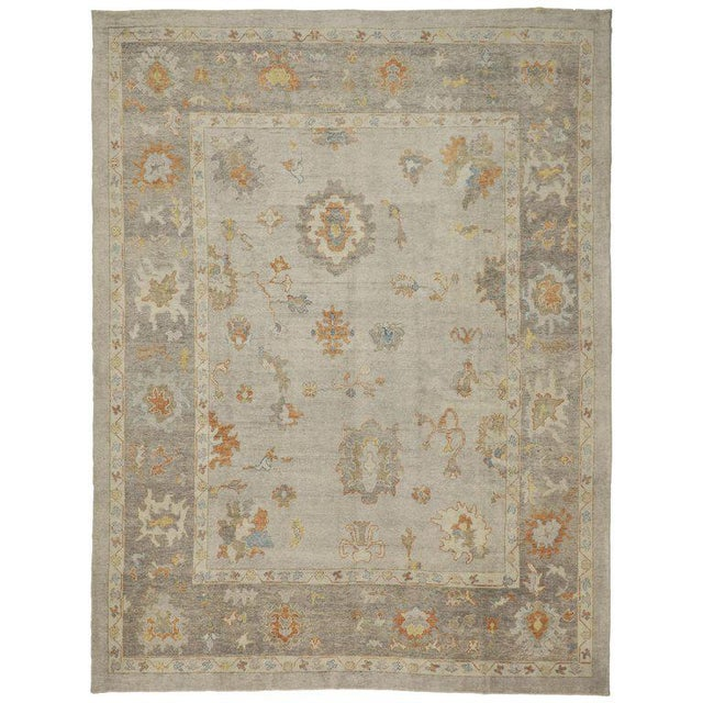 Taupe Contemporary Turkish Oushak Area Rug - 11′2″ × 14′7″ For Sale - Image 8 of 8