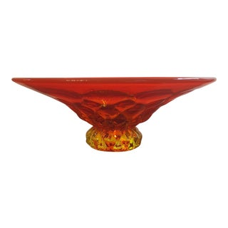 1960s Mid-Century Modern Footed Orange Glass Bowl