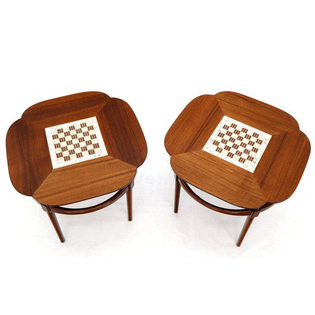 Pair of Clover Shape Tile and Walnut Top Round End Side Occasional Tables For Sale - Image 13 of 13