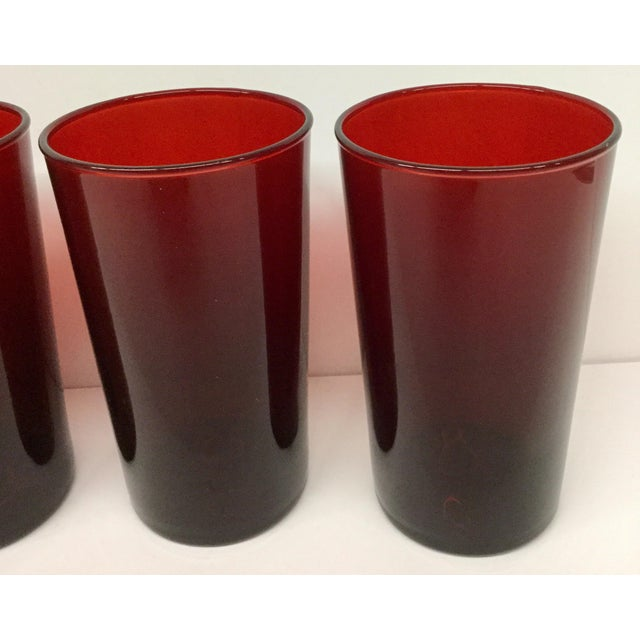 Anchor Hocking Antique Ruby Red Signed Anchor Hocking Glasses - Set of 4 For Sale - Image 4 of 10
