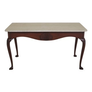 1970s Vintage Kittinger Marble Top Colonial Williamsburg Mixing Table For Sale