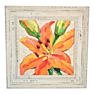 Orange Lily Still Life Acrylic Collage Painting For Sale