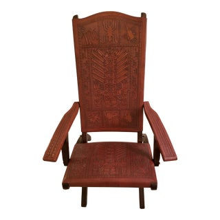 Leather-And-Cedar Peruvian Chair For Sale