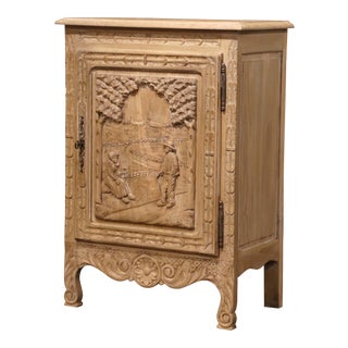19th Century French Louis XV Carved Painted Chestnut Jelly Cabinet From Brittany For Sale