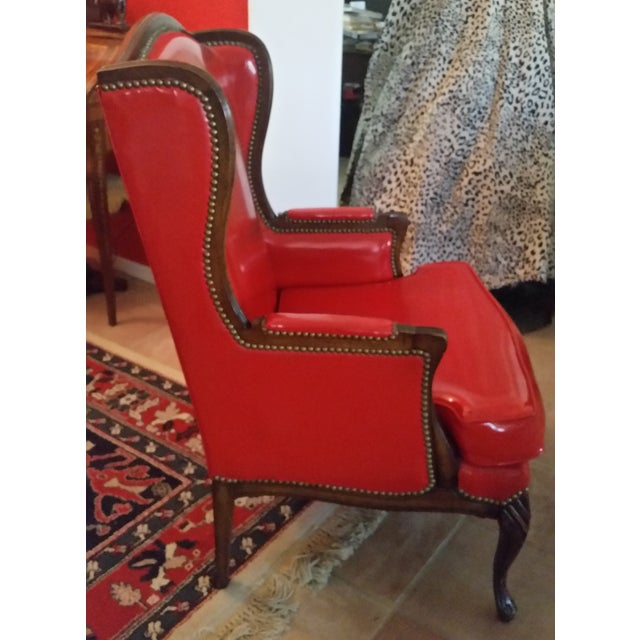 Antique Red Patent Leather Armchair - Image 4 of 11