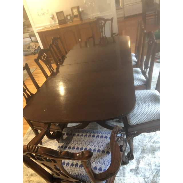 "This is a nice rectangular mahoghany dining room table that has 3 leaves and can extend to 84 1/2"" x 40"" -this is an..."