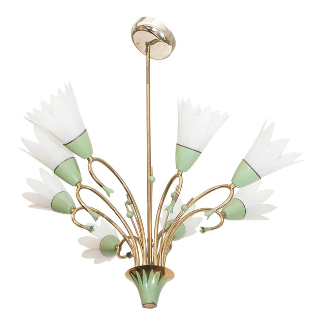 1960s Floral Eight-Light Chandelier For Sale