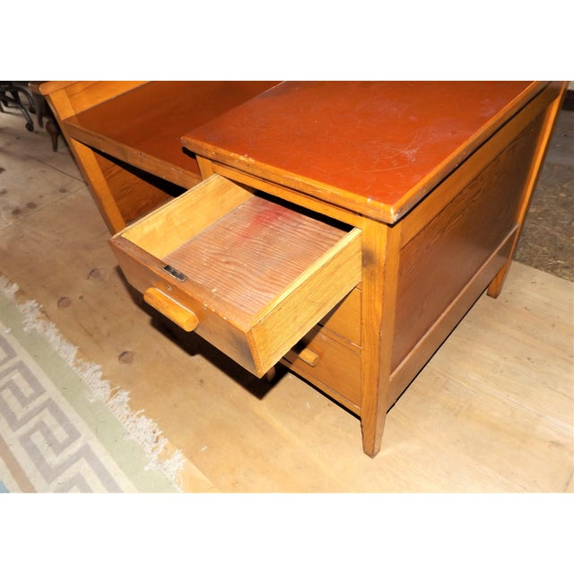 Wood 1960s Rustic Oak Writing Desk For Sale - Image 7 of 10