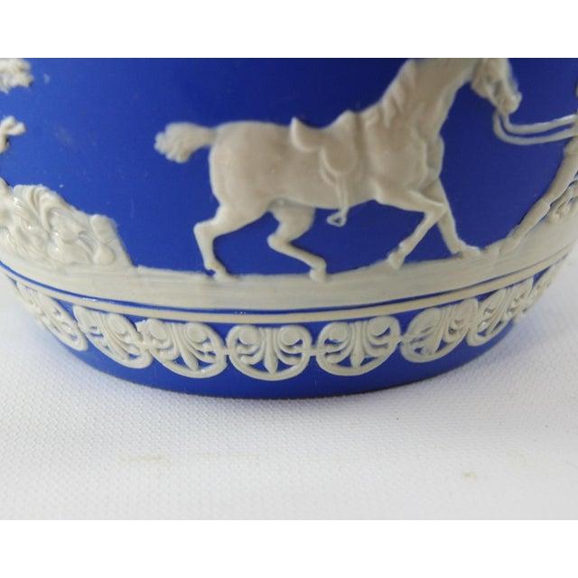 1900s Antique Spode Hunting Scene in Royal Blue Jasperware Pitcher For Sale - Image 10 of 12