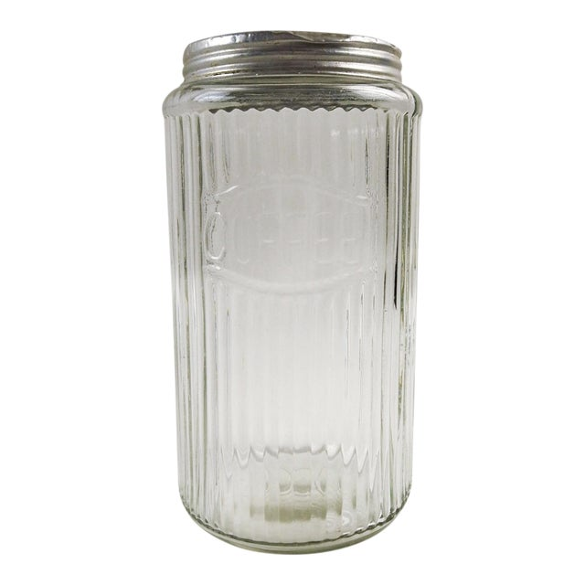 Ribbed Glass Coffee Canister For Sale