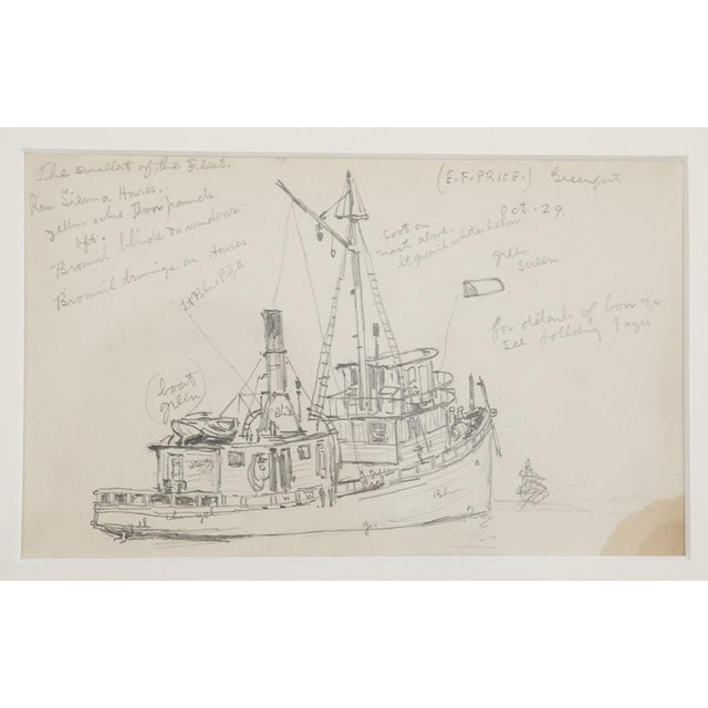 "Late 19th Century Reynolds Beal ""Sail Boats and Fishing Boats"" Pencil Sketches - a Pair For Sale - Image 5 of 13"