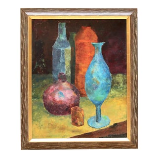 Mid-Century Bottles and Vases Still Life Painting by Matulich For Sale