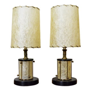 Atomic Fiberglass and Brass Boudoir Lamp - a Pair For Sale